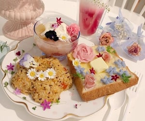 food, theme, and flowers image