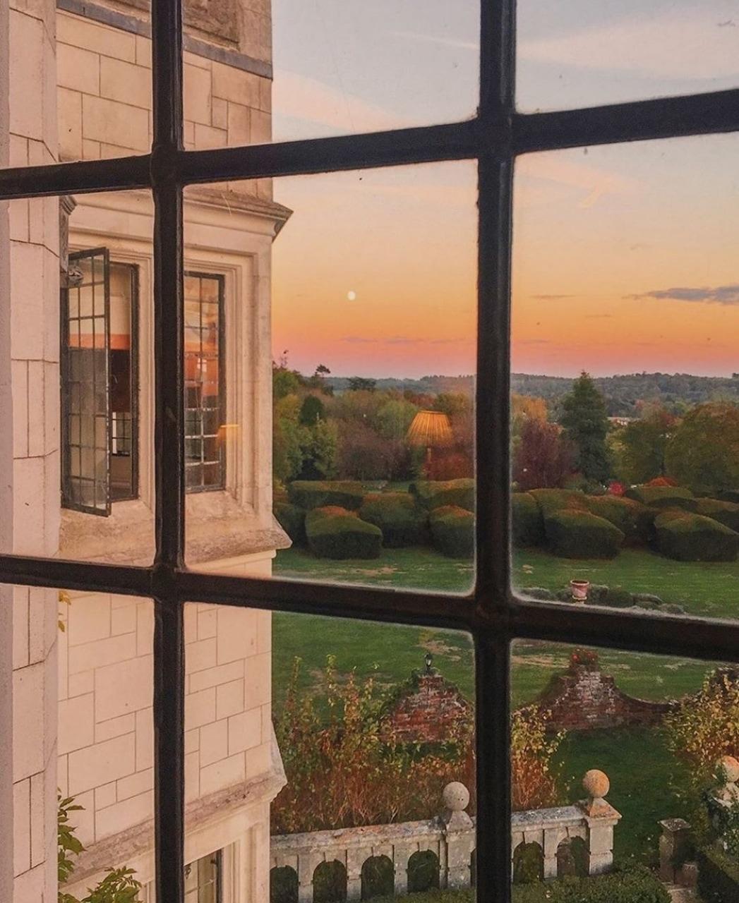 sunset, window, and house image