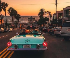 sunset, car, and palm trees image