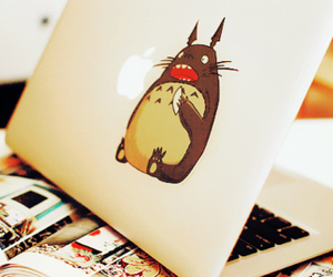 totoro, apple, and anime image
