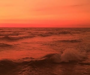 sunset, ocean, and waves image