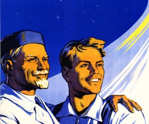 space, poster, and soviet image