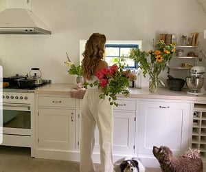 flowers, kitchen, and girl image