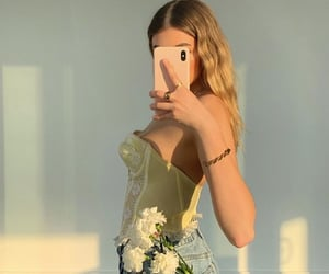 blond hair, white flowers, and fashionista addict image