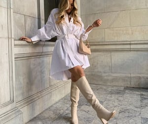 White Summer Dress, long blond hair, and knee high boots image