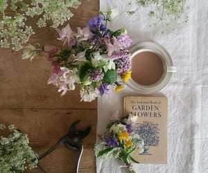 coffee, flowers, and book image