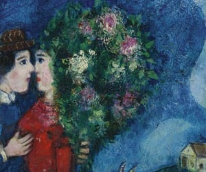 art, blue, and couple image