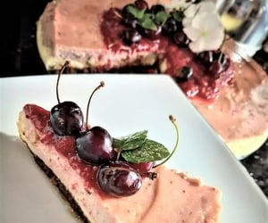 cheesecake, cherry, and foodporn image