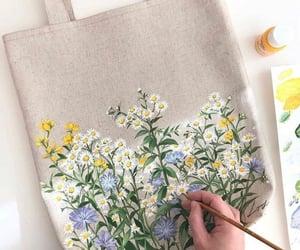 art, bag, and flowers image