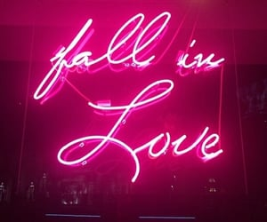 love, pink, and neon image