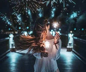 light, girl, and fireworks image