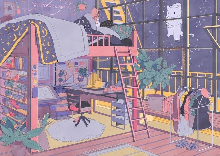 illustration, cute, and bedroom image