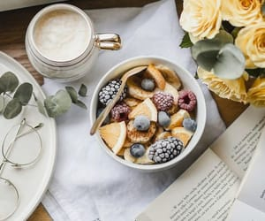 aesthetic, bookstore, and breakfast image