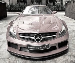 dusky pink, pink car, and mercedes benz image