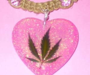 pink, weed, and necklace image