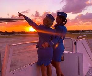 airport, emirates, and sunrise image