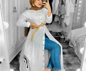 open dress with jeans image