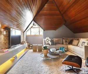attic, living room, and modern image