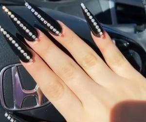 black, long nails, and rhinestone image