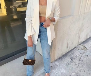louis vuitton bag, beige crop top, and fashion style mode image