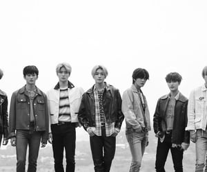 black and white, group photo, and moon taeil image