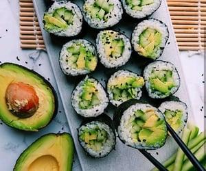 food, avocado, and sushi image