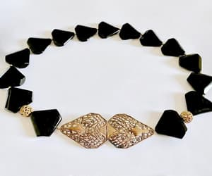 black and gold, vintage choker, and edwardian buckle image