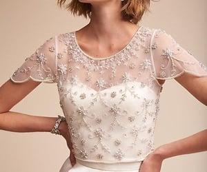 wedding dress, sleeved wedding dress, and wedding dress topper image