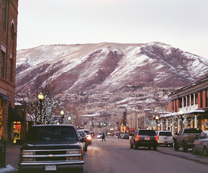 mountains, car, and snow image