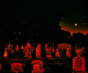 red, graveyard, and aesthetic image