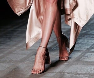 heels, rose gold, and catwalk image