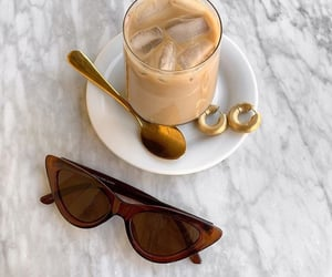 coffee, sunglasses, and gold image
