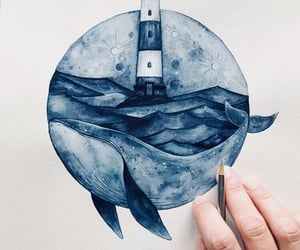art, lighthouse, and whale image
