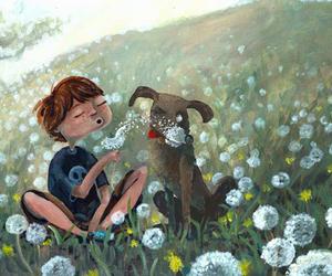 dandelion, dog, and illustration image