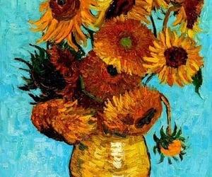 van gogh, sunflower, and art image