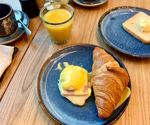 breakfast, croissant, and eggs image