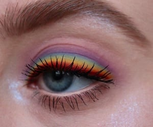 makeup, rainbow, and colors image