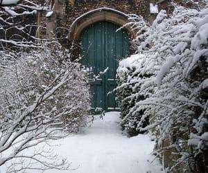 snow, winter, and door image