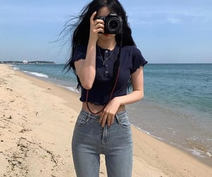 asian fashion, asian girl, and beach image