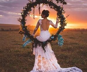 june, wedding, and whitedress image