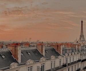 paris, sunset, and eiffel tower image
