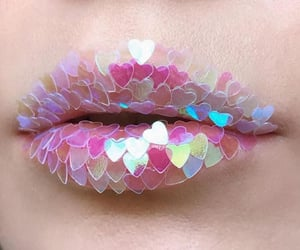 pink, holographic, and lips image