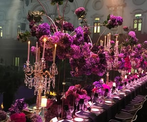 banquet, night, and flowers image