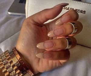 beige, long nails, and french manicure image
