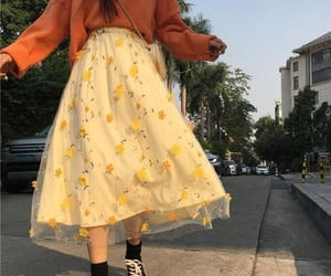 outfit, yellow, and skirt image