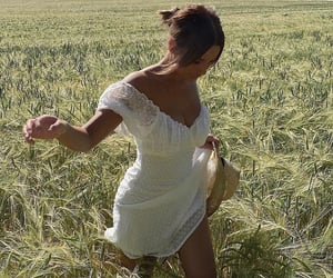 dress, field, and summer image