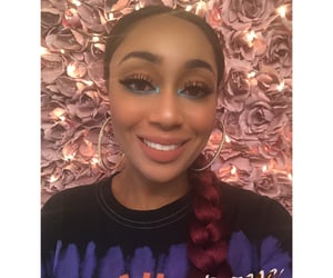 makeup, winged liner, and blue liner image