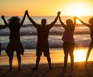 beach, people, and understanding image