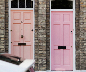 door, pink, and house image