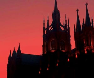 red, castle, and dark image